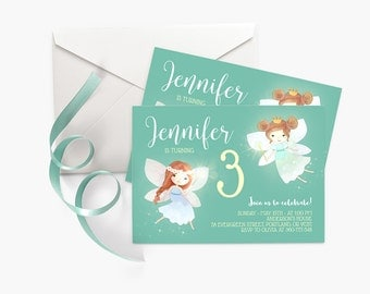 Mint Green Birthday Invitation, Little Girl Birthday Party Invite, Fairy Birthday Invitation, Fairy Party Invitation, Printable Invitation