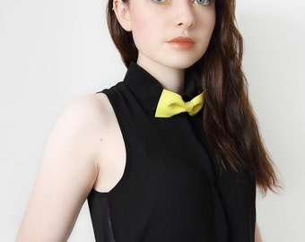 yellow lemon leather bow tie for men or women