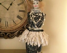 Altered Dress form, Altered Art Mannequin, Paris Home Decor, Vintage altered doll head, table top dress form, French Doll Decor, French Doll
