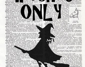 """Halloween Printable """"Witches Only"""" Digital Download on Vintage Dictionary"""