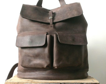 HandMade Brown LEATHER BACKPACK  / Handcrafted leather Rucksack with two front pockets / Brown Leather bag