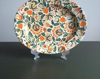 Mid Century Flowered Tin Tray