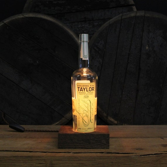 Colonel E.H. Taylor Barrel Proof - Features Reclaimed Wood Base, Edison Bulb, Twisted Cloth Wire, In line Switch, And Plug, Upcycled Light