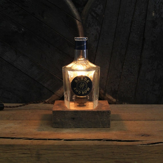 Blade & Bow Bourbon Bottle Lamp - Features Reclaimed Wood Base, Edison Bulb, Twisted Cloth Wire, In line Switch, And Plug, Upcycled Light