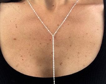 Y So Pretty Necklace - Sterling Silver Lariat Necklace, Silver Disc Necklace, Sterling Silver Y Necklace, Sterling Silver Lariat Necklace