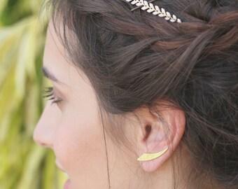 Bridal Head Chain, gold hair piece, hair chain, Minimalist Bridal Hair Necklace, Bridal headband, Bohemian halo Style, Bridal Hair Accessori