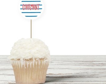 French Cupcake Toppers - Party Circles - Food Picks
