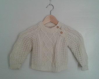 Vintage 1960's Kids' Toddler Cream Cable Knit Sweater Pullover Wooden Buttons Aran Style Sz 3T