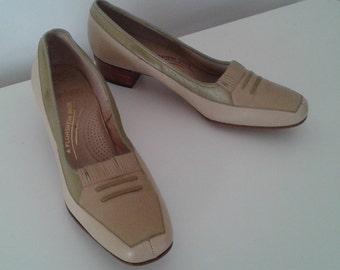 Vintage 1950's Florsheim Ramblers Tan Green Cream Leather Loafer Heels Sz 7 Deadstock