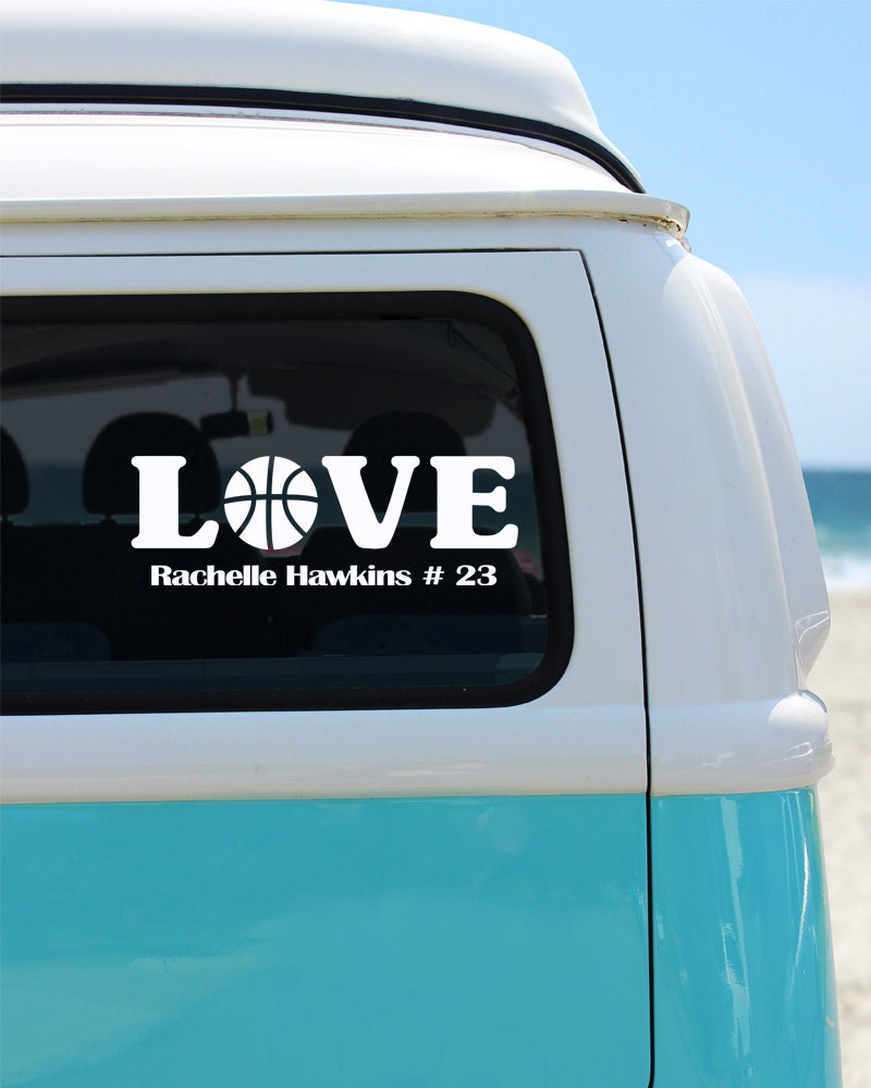 Basketball Love With Name Vinyl Window Decal Car Sticker - Window decals for cars sports