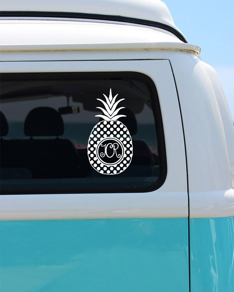 Pineapple Monogram Vinyl Window Decal Car Decal Pineapple Car - Monogram decal for car