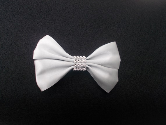 Silver Satin Bling  Hairbow