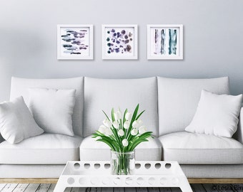 Touch the Water, abstract print set, watercolor painting, monochrome art, black and white art,  SET OF 3, dots wall art, geometrical art