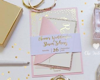 Foil, Wedding, Invitation, Blush and Gold, Light Pink, Luxury Wedding invitation