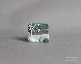 Brooch landscape miniature nature polymer clay floral brooch