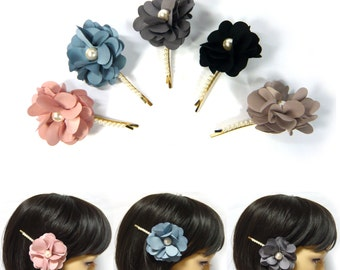 Soft Fabric Layer Flower Faux Pearl Beaded Gold Tone Metal Bobby Pin Hair Clip Accessory Lovely Romantic Fashion Women Lady Girl Gift New