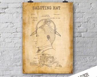Saluting Device Patent Print| Steampunk Poster| Hat Patent Print| Birthday Gift