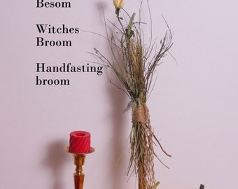Witches broom, broom, besom, handfasting broom, magic broom, shaman stick, with feathers, charms, crystals, stones hand made, one of a kind.