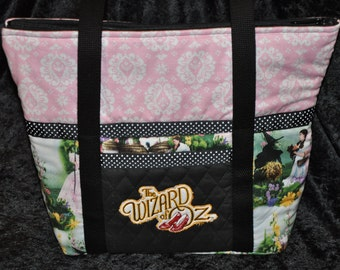 NEW! OOAK Wizard of Oz Ruby Slippers Embroidered Dorothy, Glenda, Toto Quilted Handbag/Shoulder Bag/ Tote Bag