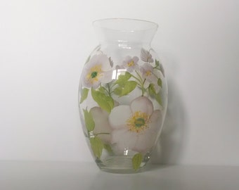 Hand Painted Vase with Floral Design