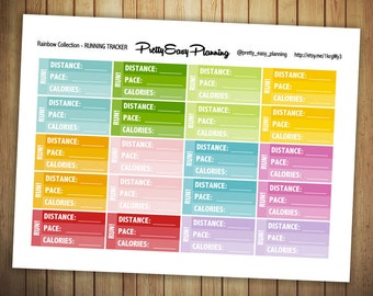 Running Tracker planner sticker / Erin Condren / Fitness planner / health planner / Happy Planner / multicolor stickers