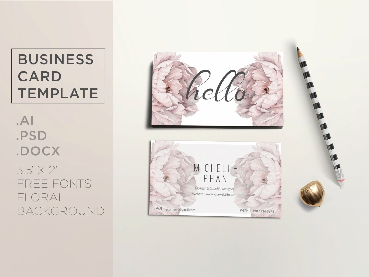 Floral business card template reheart Image collections