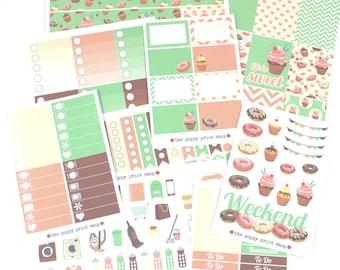 Deluxe Sweet Treats Planner Sticker Collection -For use in Erin Condren, Happy Planner, Plum Paper, Cupcake Donut Doughnut