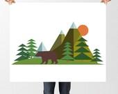 Bear & Mountain Print, Woodland Nursery decor, Forest Art, Geometric Mountain Art, Printable Nursery Wall Art, Brown Bear, Bear Baby Shower