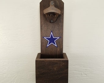 Wall Mounted Bottle Opener, Dallas Cowboys, Bottle Cap Catcher, Football