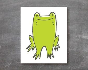 Frog art print, kids room, wall art, poster