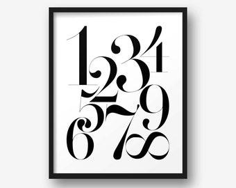 Printable Poster - Numbers  - Typography, Print, Black & White Wall Art, Poster, Scandi, Minimalist