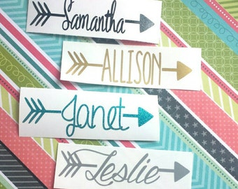 Arrow Name Decal,  ***READ ITEM DESCRIPTION***, Arrow Decal, Car Decal, Name Decal, Yeti Decal, Laptop Decal, Phone Decal, Cup Decal