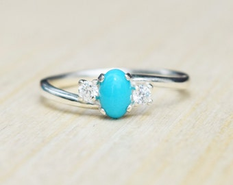 Turquoise Ring, Sleeping Beauty Turquoise, Petite Ring, Turquoise Engagement Ring, Turquoise Promise Ring