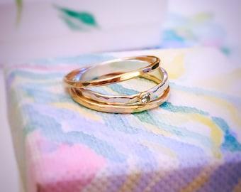 Moissanite Diamond ring, Diamond Silver & Gold ring set, Stackable rings set, Wedding rings set, 14ct gold filled stacking rings