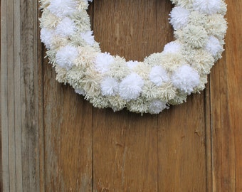 Pom Pom Wreath, Winter Wreath, Anthropologie Inspired Wreath, Front Door Wreath, Pom Pom Decorations, Winter Decor, Anytime Wreath