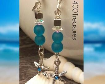 Starfish. Swarovski Crystal. Blue. Earrings