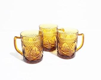 Vintage Durand Cristal D'Arque Glass Mugs Amber Topaz Color 1970's, set of three