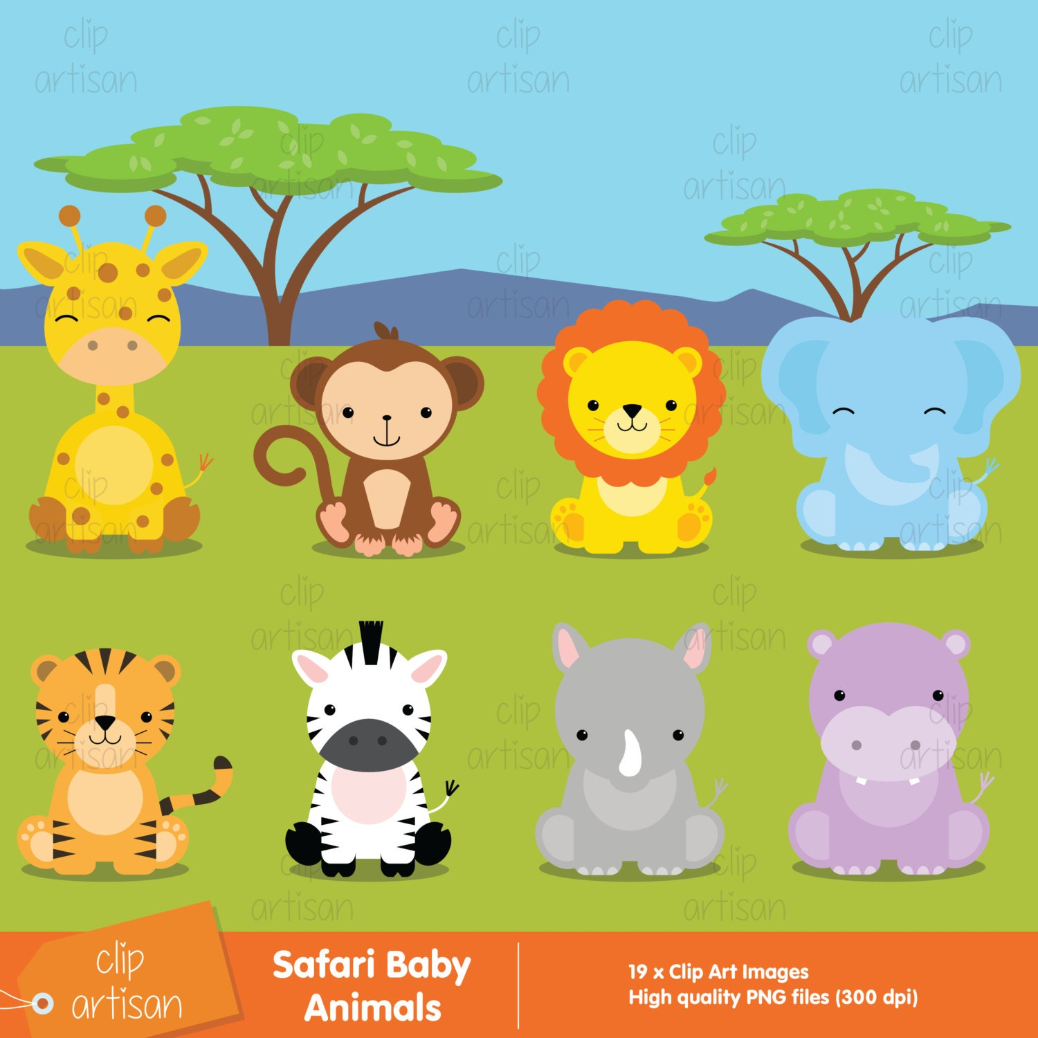 safari baby animals clipart jungle animals by clipartisan. Black Bedroom Furniture Sets. Home Design Ideas