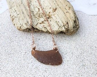 Brown Wave Sea Glass and Copper Wire Wrapped Necklace - Unique Shaped Seaglass Pendant - Maine Seaglass Gift - Big One of a kind Pendant