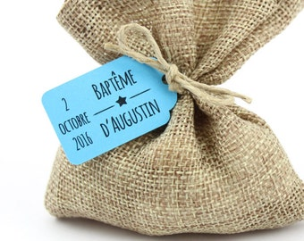 10 labels 2.4 x 4 cm, Star, personalised for your baptism favors