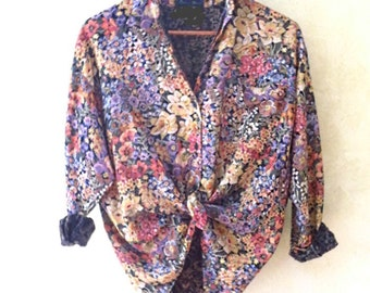 blouse vintage 80 s liberty floral print shirt blouse printed retro tapestry