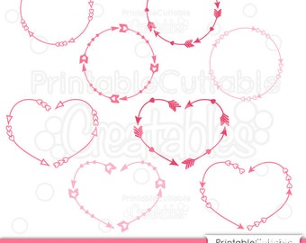 Valentine's Monogram Arrow Frames SVG Cut File & Clipart Set - Includes Limited Commercial Use! + FREE Love Arrows SVG Set!