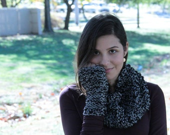 Large Double-Knitted Fingerless Gloves