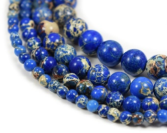 "Natural Sea Sediment Jasper Beads 4m 6mm 8mm 10mm Round Blue Imperial Impression Stone, 15.5"" Full Strand, Wholesale"