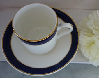 Gold, Blue and White Heritage fine bone china demitasse and saucer set of four