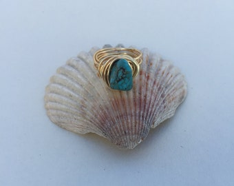 Gold Ring turquoise stone