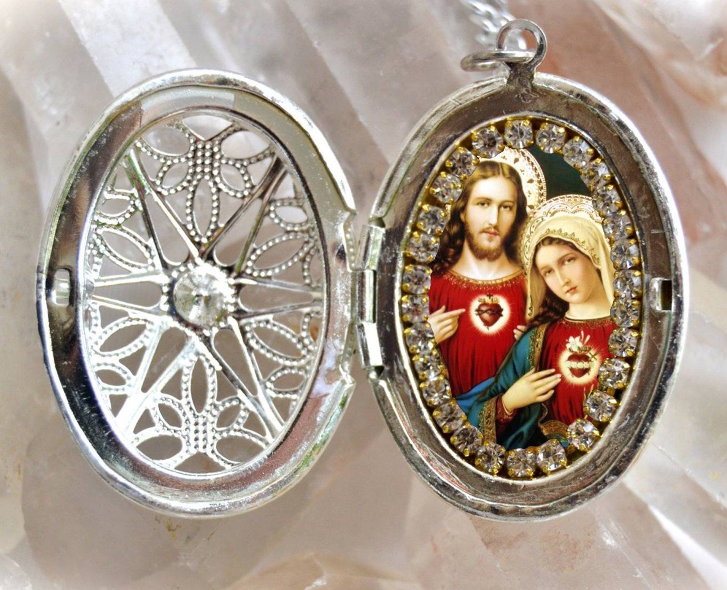 Immaculate heart of mary and sacred heart of jesus locket handmade immaculate heart of mary and sacred heart of jesus locket handmade necklace catholic christian religious jewelry medal pendant aloadofball Images