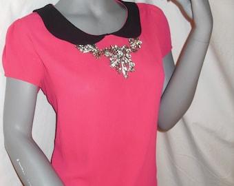 BLACK/PINK Peter Pan Collar Short Sleeve Semi-Sheer Top/Blouse L