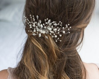 Bridal Hair Comb with Swarovski Pearls Bridal Headpiece Bridal Hair Piece Leaf Hair Comb