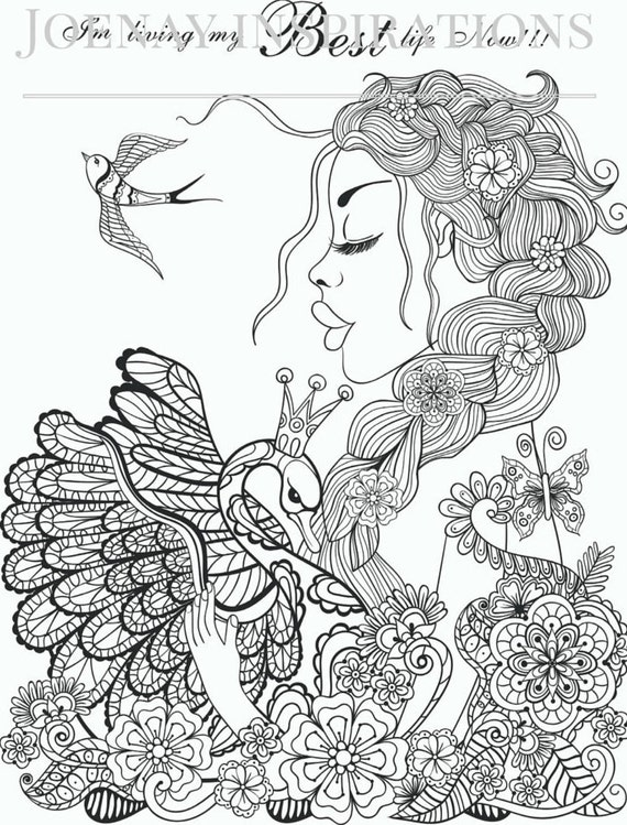 Adult Coloring Book Printable Coloring Pages, Coloring Pages, Coloring Book for Adults Instant Download Inspiration and Affirmation 1 page 6